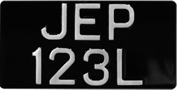 Black and Silver Metal Pressed American Import Size Number Plates 12'' x 6'' (Digit Size 2 1/2'')
