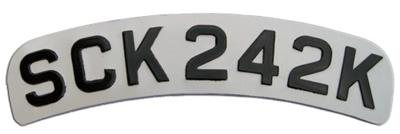 Curved Pressed Metal White Reflective Motorcycle Number Plate with Black Digits ( Digits Size 1 3/4'' ) Sizes Available 12'' x 2 1/2''