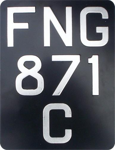 MoD 3 Line Metal Pressed Black & Silver Motorcycle Number plate (2 1/2'' & 1 3/4'' Digit Size) Sizes Available : (7 1/4'' x 9 1/2'') (7'' x 10 1/4'') (6 1/3'' x 9'') (5'' x 7'')