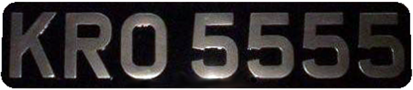 Black & Silver Morris Minor Metal Pressed Number Plates Rear Plate with 1'' Radius Corners (3 1/8'' Digits) 2 oblong Available