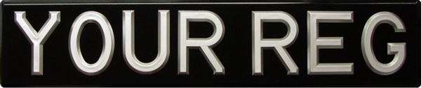 Raised Silver Riveted Plastic Digits on Black Bevelled Plate (3 1/8'' digit size) Oblong & Square Available