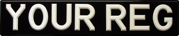 Raised White Riveted Plastic Digits on Black Bevelled Plate (3 1/8'' digit size) Oblong & Square Available