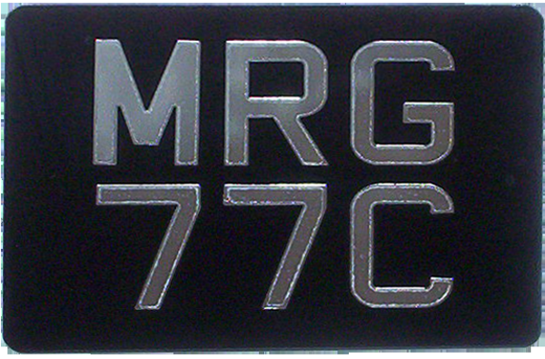 Mirror Silver Digits on Black Acrylic Motorcycle Number Plates  ( Digit Size 2 1/2'') Sizes Available: (9'' x 6'') (6 1/2'' x 6 1/2'') (9 1/2'' x 6 1/2'') (7 1/4'' x 6 1/2'') (9'' x 7'')