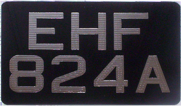 Ribbed Silverline Digits on Black Acrylic Motorcycle Number Plates (Digit Size 2 1/2'') Sizes Available: (9'' x 6'') (6 1/2'' x 6 1/2'') (9 1/2'' x 6 1/2'') (7 1/4'' x 6 1/2'') (9'' x 7'')
