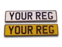 White & Yellow Reflective Aluminium Metal Pressed Number Plates with Black Digits in the New Charles Wright Font (3 1/8'' Digit Size) - (Oblong & Square Available)