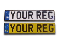GB Flag White & Yellow Reflective Aluminium Metal Pressed Number Plates with Black Digits in the New Charles Wright Font (3 1/8'' Digit Size) - (Oblong & Square Available)