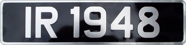 Black & Silver Pressed Metal Number Plates with (3 1/2'' Digit Size) with Silver Border (Oblong & Square Available)