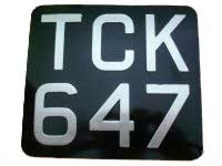 Black & Silver Metal Pressed Motorcycle Number Plate (2 1/2'' Digit Size) Sizes Available: (9'' x 6'') (6 1/2'' x 6 1/2'') (7'' x 6 1/2'') (7 1/2'' x 6'') (9 1/2'' x 6 1/2'')  (7 1/4'' x 6 1/2'')  (9'' x 7'') (6 3/4'' x 6 1/2'' ) (8'' x 6'')