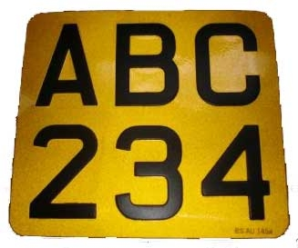Yellow Reflective with Black Digits Metal Pressed Motorcycle Number Plate (2 1/2   ''Digit Size)  Sizes Available: (9'' x 6'') (6 1/2'' x 6 1/2'') (9 1/2'' x 6 1/2'') (7 1/4'' x 6 1 /2'') ( 9'' x 7'') (6 1/2'' x 9'' 3Line Plate) (6 1/2'' x 6 1/2 '')
